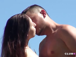 Skinny Chick Rides Cock Outdoors