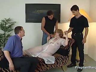 Preggo Blonde Slut Gets Gangbanged