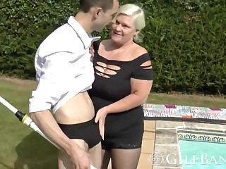 A lucky pool boy has an amazing sex adventure with a lusty mature lady