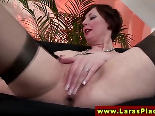 Euro mature in stockings gets