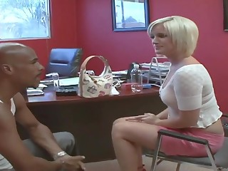 Naomi gets a huge black cock in hairy blond pussy