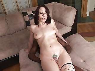 sexy white MILF analed by black cock