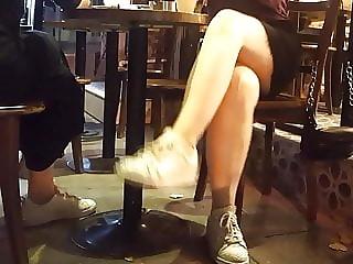 Basic instinct, sexy sitting upskirt, crossing legs