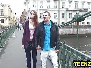 Slender Brunette Teen Anal Fucked
