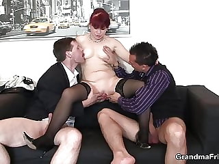 Sexy office lady gets her pussy licked before threesome