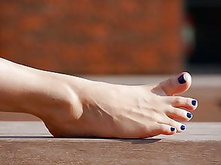 Feet 048 - Smooth Top Of Her Foot + Blue Toe Polish