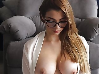 Nerd college girl masturbating on sofa  p5