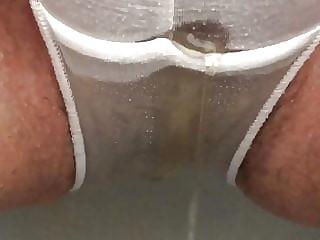 Peeing in see thru panties