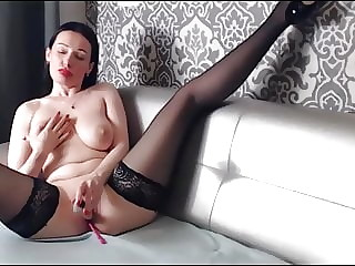 Olga - Fucks Pussy with Heel , Finger and Dildo