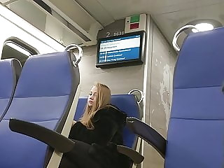 Girl on train watching my bulge