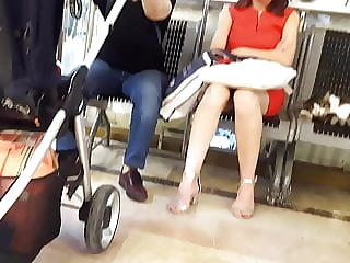 Candid sexy feets, legs, short upskirts in heels