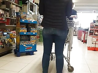 Tight jeans ass shopping checkout