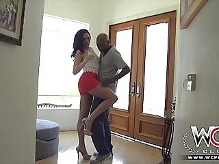 Brunette hottie shoves a big black cock up her Anus