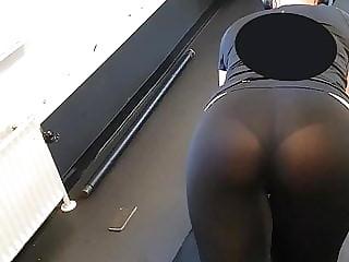 See through blonde gym ass
